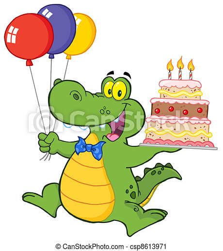 Vector - Happy Crocodile Holding Cake - stock illustration, royalty ...