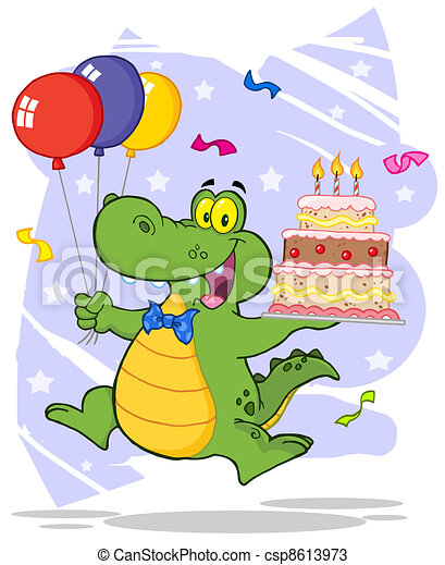 Crocodile Holding Up A  Cake - csp8613973