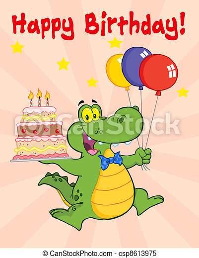 Greeting Card With Happy Crocodile  - csp8613975
