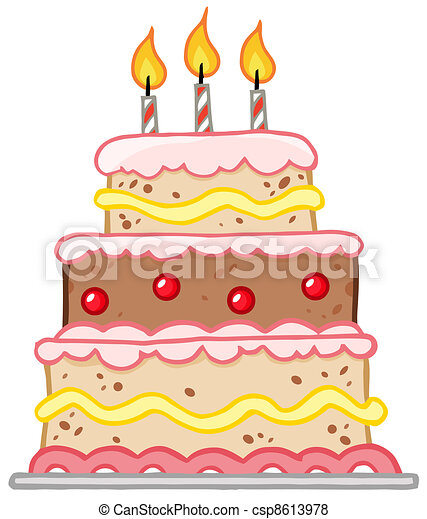 Birthday Cake With Three Candles - csp8613978