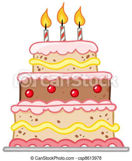 Birthday Cake With Three Candles - csp8613978