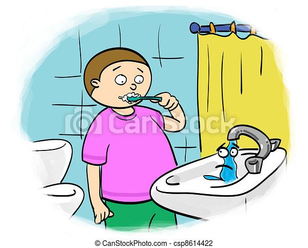 Clip Art Of Water Saving Child Brushes Their Teeth Shut