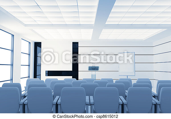 empty modern conference room with microphones and visual board and chairs - csp8615012