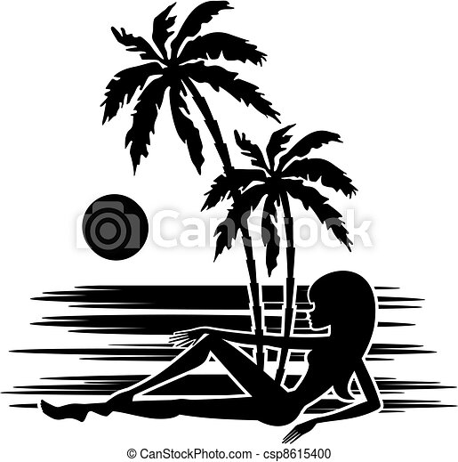 Tropics. A palm trees and woman - csp8615400