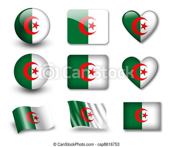 les, Algérien, drapeau - csp8616753