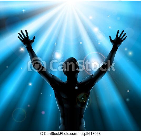 Spiritual man with arms raised up concept - csp8617063