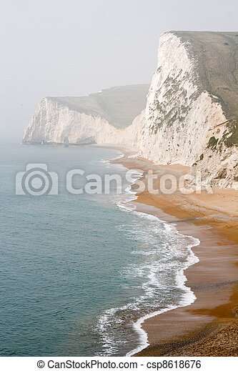 Coastal Cliffs, Lulworth Cove, Dorset, South England - csp8618676