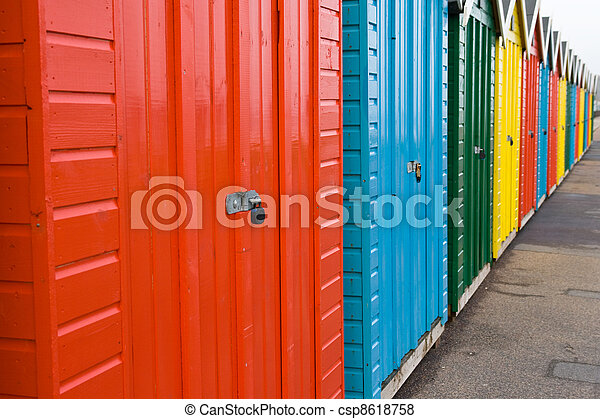 Row of colourful beach huts, Bournemouth, England - csp8618758