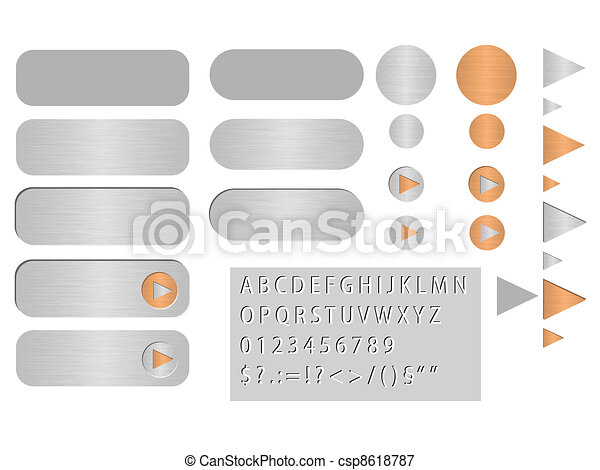 vector buttons polished steel - csp8618787