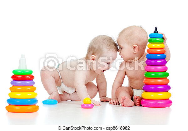 two little children playing - csp8618982