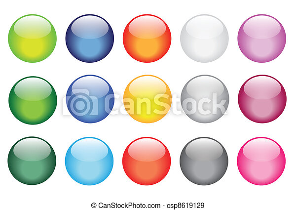 shiny glossy glass buttons icons - csp8619129