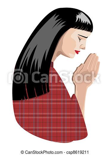 praying woman - csp8619211
