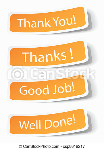 Thank you notes as stickers - csp8619217