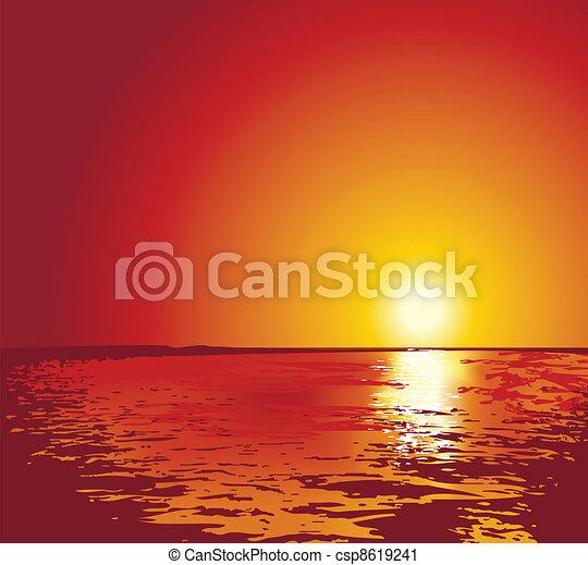sunset or sunrise on sea, illustrations - csp8619241