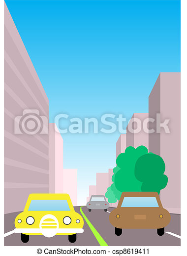 City traffic illustration. Two way road with cars surrounded by city buildings, sidewalk and trees. - csp8619411