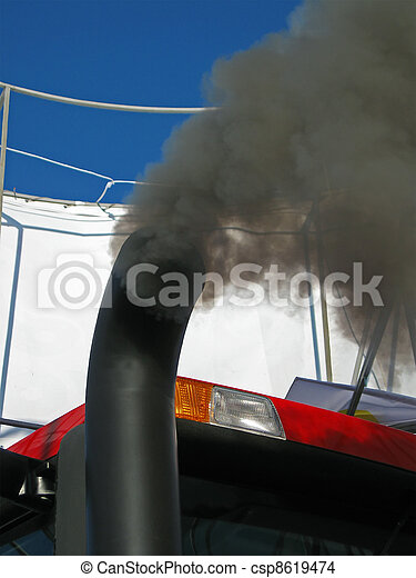 black smog from industrial pipe, environment pollution details - csp8619474