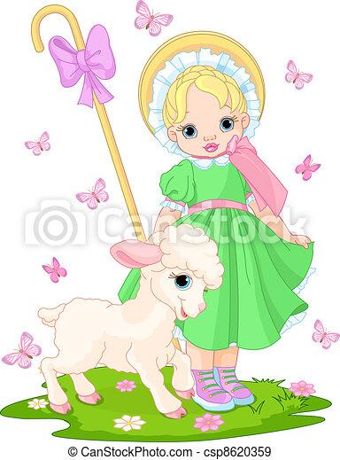 Little shepherdess with  lamb - csp8620359