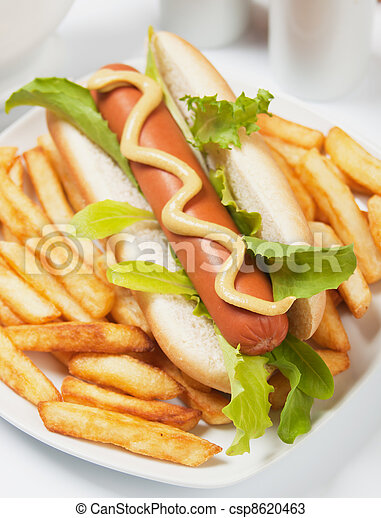 Hot dog with lettuce and french fries - csp8620463