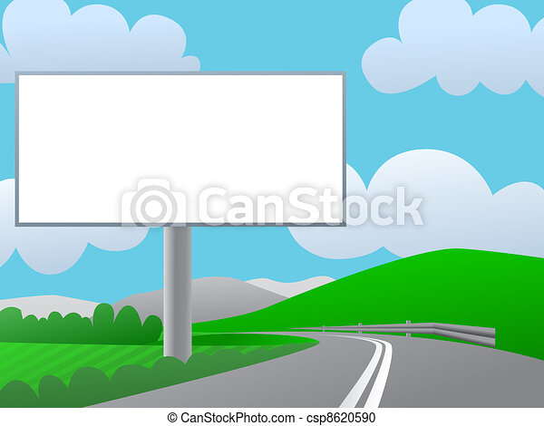 Advertising billboard on country road. Sunny day, green hills and blue sky. - csp8620590