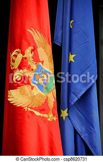 Montenegrin and European flag - csp8620731