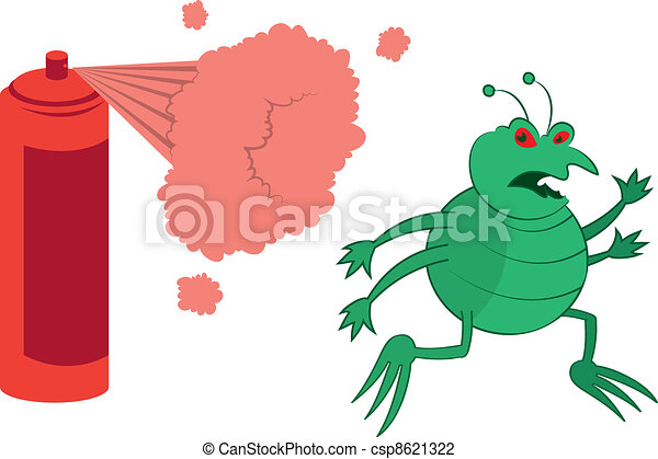 Vector Illustration of Green Bug Sprayed - Isolated cartoon green ...