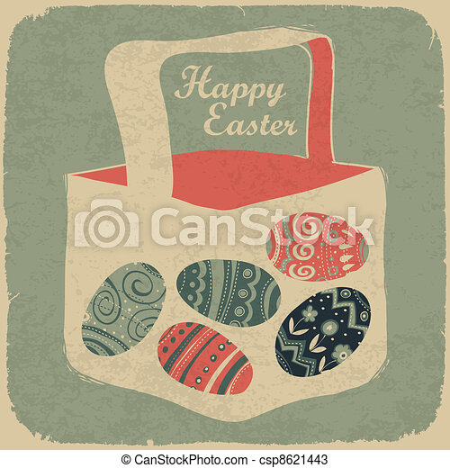 Easter basket with eggs. Retro style easter background. - csp8621443