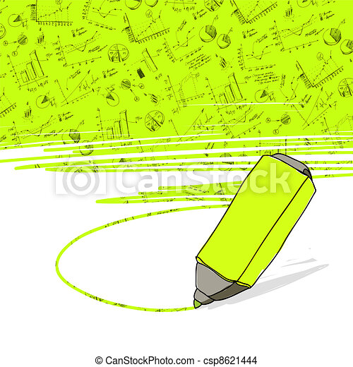 Successful business graphs highlighted in yellow with highlighter office yellow marker. Vector.  - csp8621444