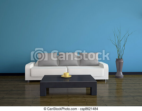 Interior with a sofa and a table - csp8621484