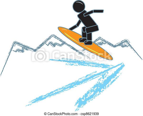 Stick Figure Snowboarding - csp8621939