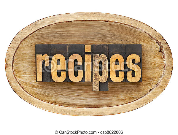 recipes word in wooden bowl - csp8622006