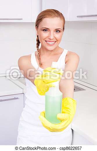 housewife with detergent - csp8622657