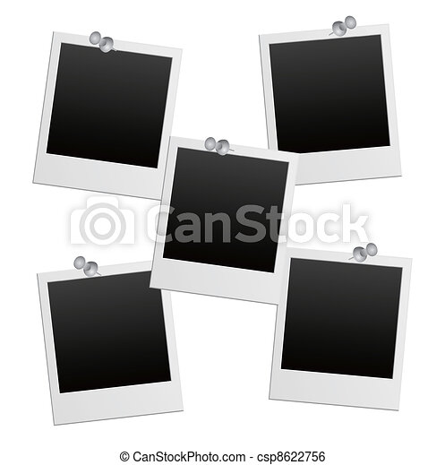 vector photo frames with pushpin - csp8622756