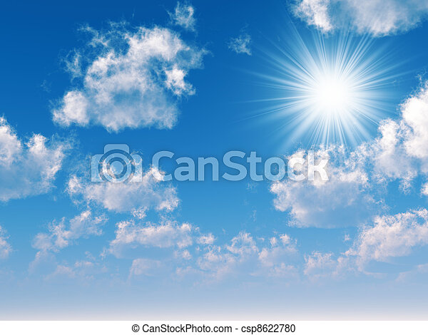 beams of the sun which are making the way through clouds in the blue sky - csp8622780