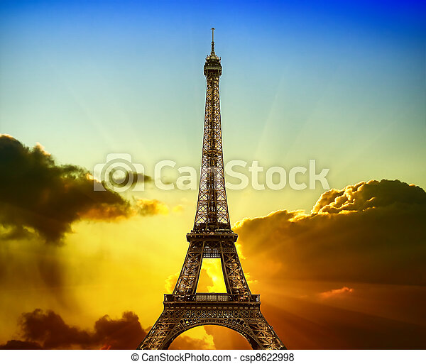 Eiffel Tower on sunset - csp8622998
