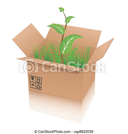 recycle shipping box with plant - csp8623039