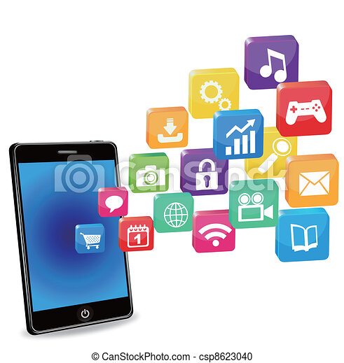 smart phone applications on a white - csp8623040