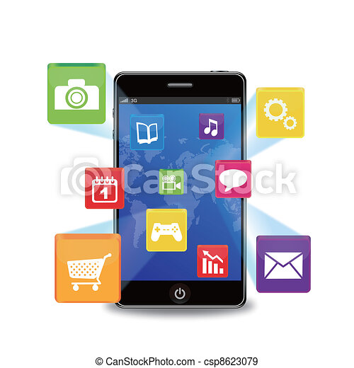smart phone with applications - csp8623079