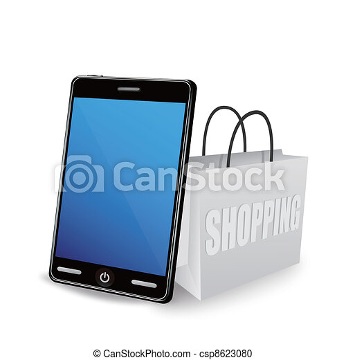Smart phone and shopping bag  - csp8623080