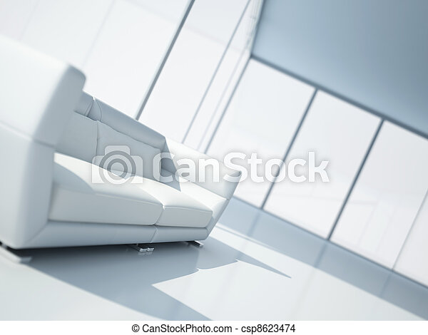 modern white leather sofa in a light interior with large windows - csp8623474