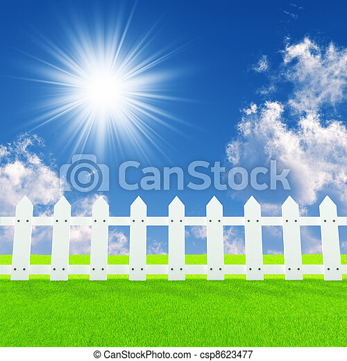 white fence on a summer lawn in a sun day - csp8623477