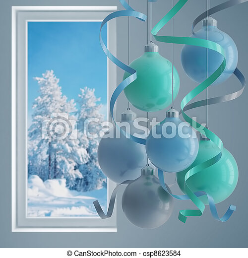 blue christmas balls in an environment of ribbons on a window background - csp8623584
