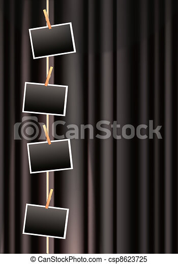 photo frames on a black curtain - csp8623725