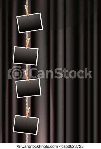photo frames on a black curtain - csp8623725