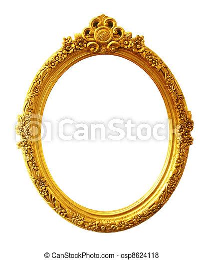 old antique gold frame - csp8624118