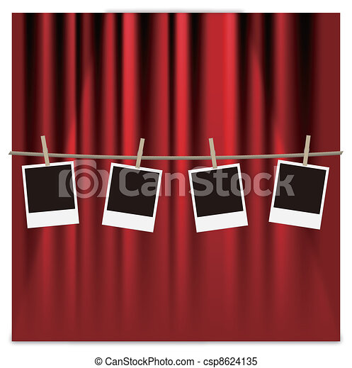 photo frames on a red curtain - csp8624135