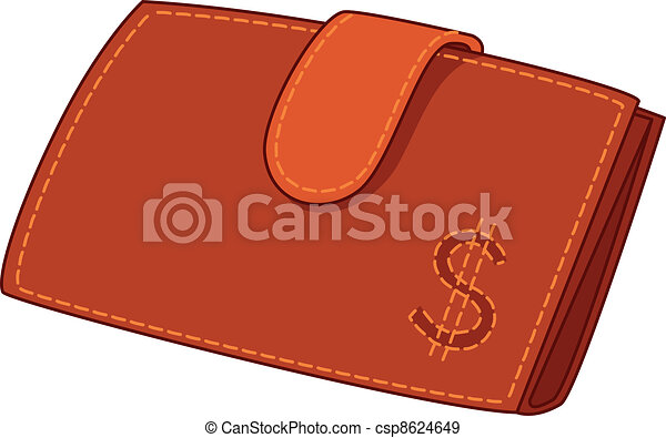 Vector Clip Art of Leather wallet with dollar sign, contour - Red ...