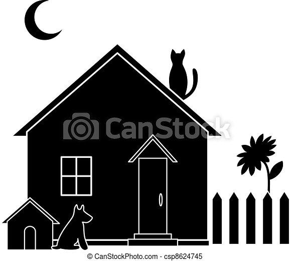 Clipart vettoriali di piccolo silhouette casa casa for Piani casa cane trotto