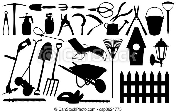 Illustrations de outils jardinage outils ensemble isol csp8624775 recherchez des for Photos outils de jardinage