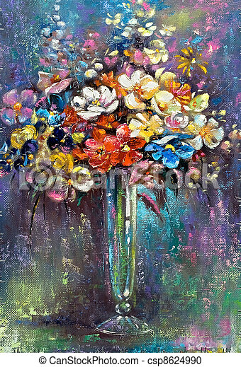 grupo, vidro, flores, vaso - csp8624990