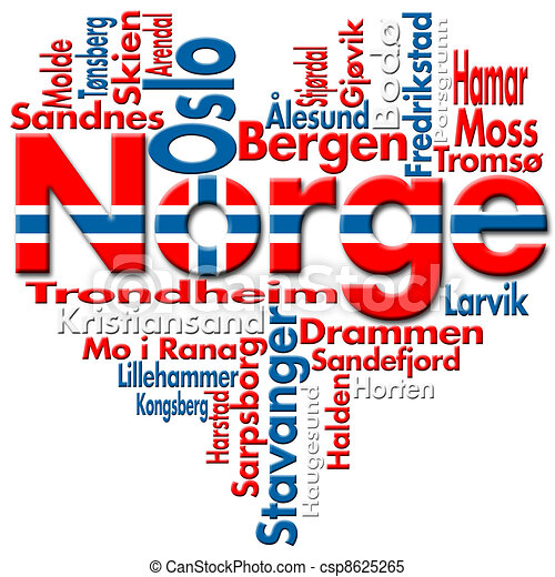 ... Norge and norwegian cities with heart-shaped, norwegian flag colors